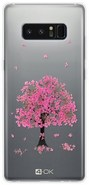 4-OK Flover Cover TPU Galaxy Note8, Pink Tree