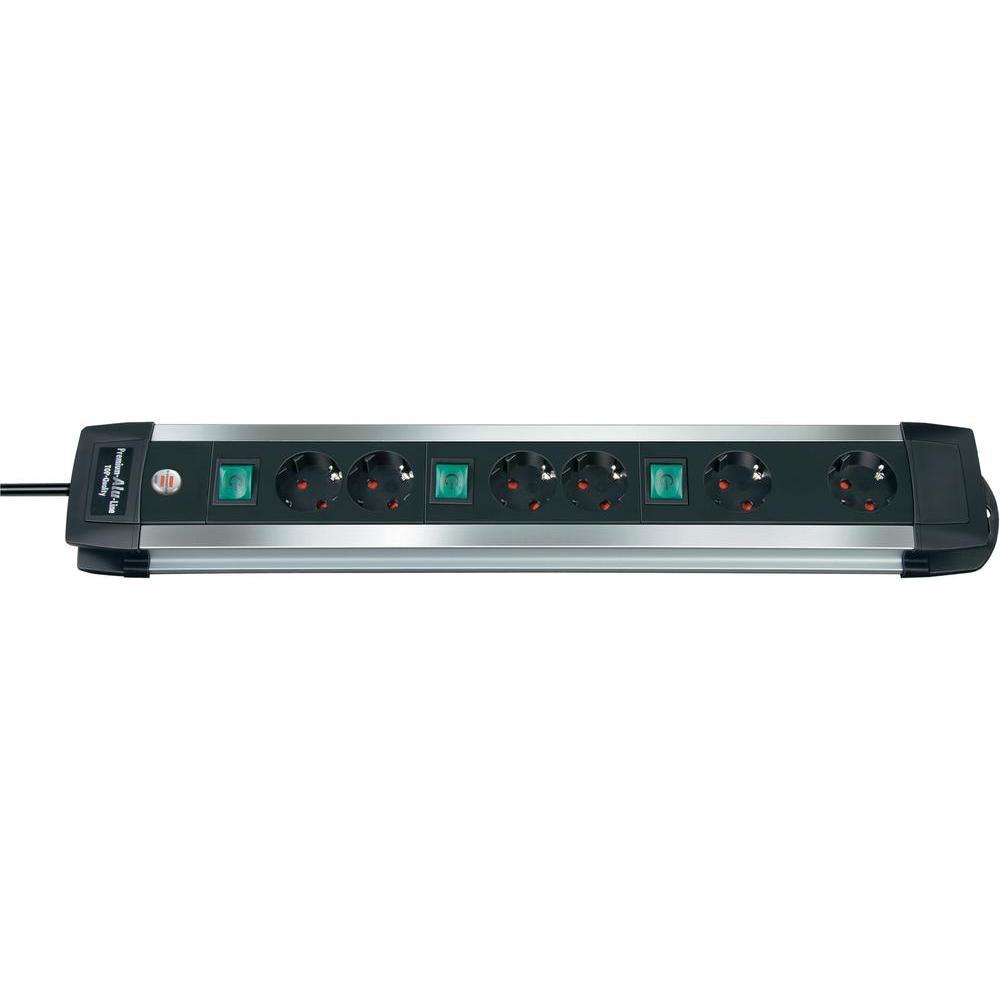 6-násobná zásuvková lišta premium alu-line 3m
