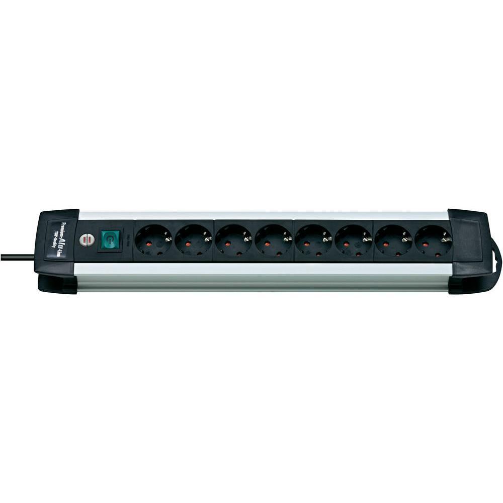 8-násobná zásuvková lišta premium-alu-line 3m