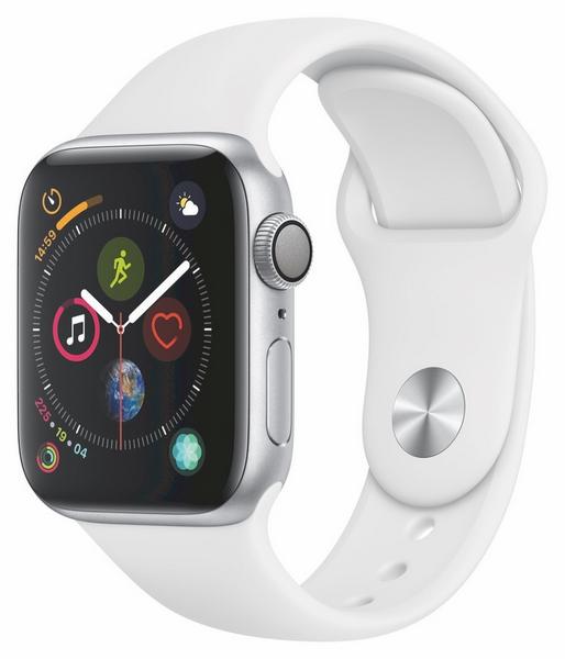 Apple watch s4 stříbrné 40mm bílý sport. Řemínek