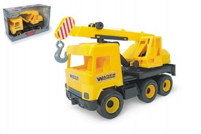 Auto middle truck jeřáb 40cm žlutý wader