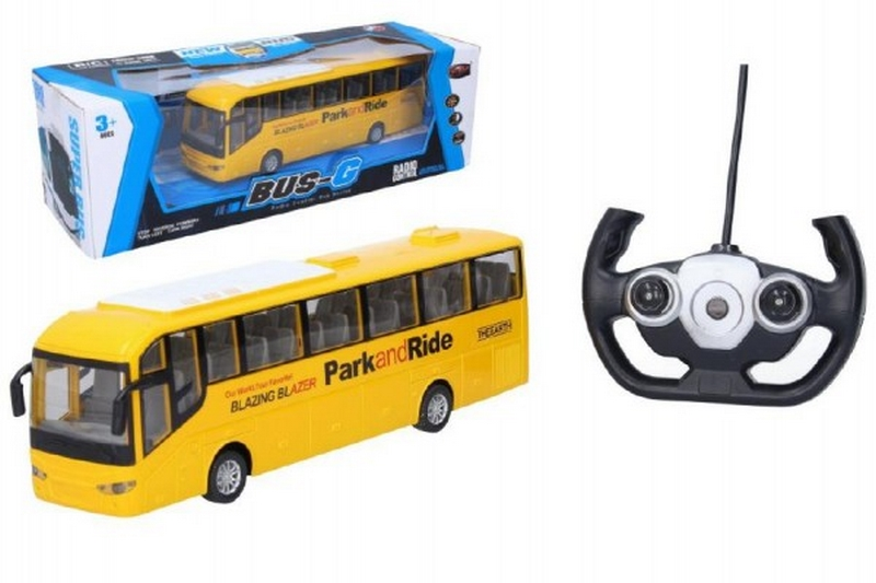 Autobus rc 28cm na dálkové ovládání + bateriový pack se světlem