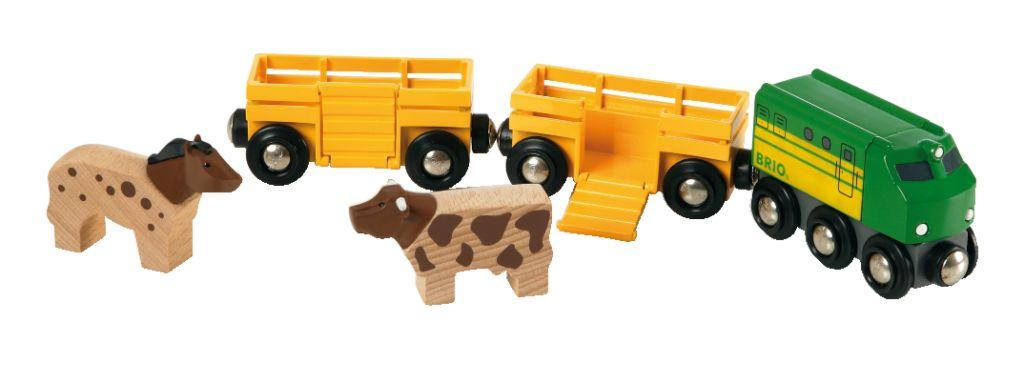 Brio zemědělský vlak pro přepravu zvířat se 2 vagónky, krávou,…