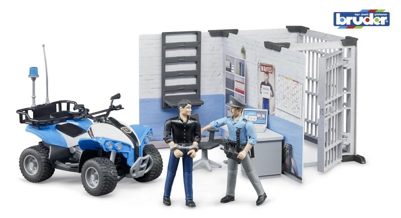 Bruder 62730 bworld policejní stanice s figurkami a čtyřkolkou