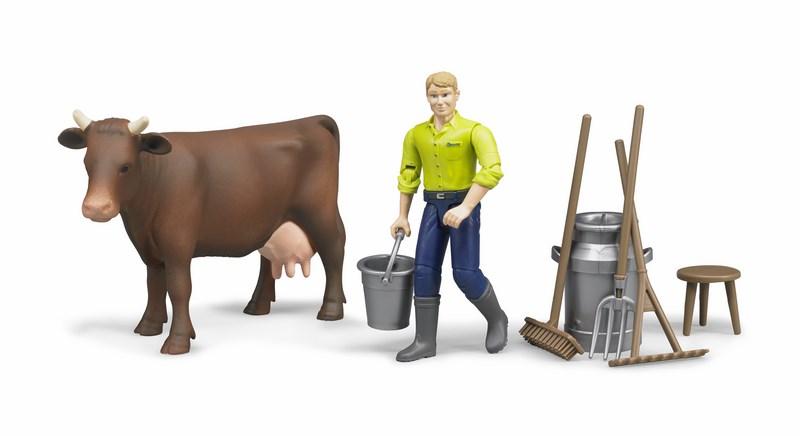 Bworld 62605 zemědělský set - kráva, muž a příslušenství