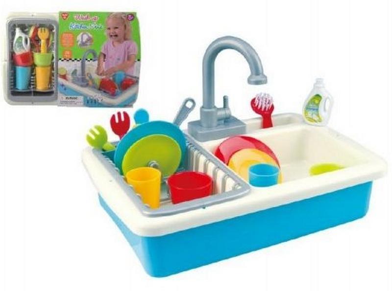 Dřez na mytí nádobí + kohoutek na vodu na baterie 20ks plast…