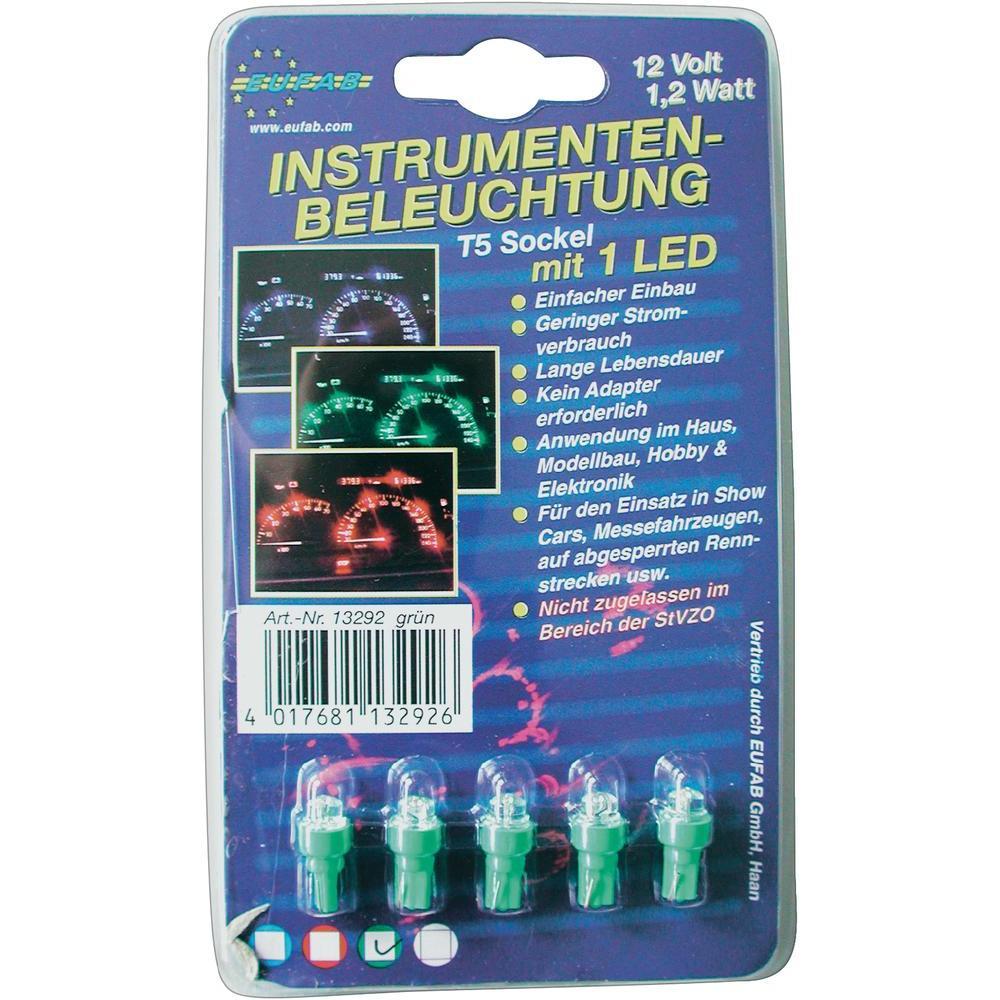 Led žárovky pro osvětlení přístrojů, 1,2 w, t5, zelené, 5 ks