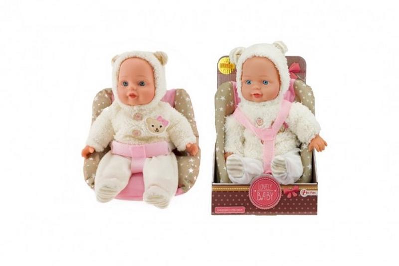 Panenka miminko v zimním oblečku měkké tělo v sedačce plast 30cm…