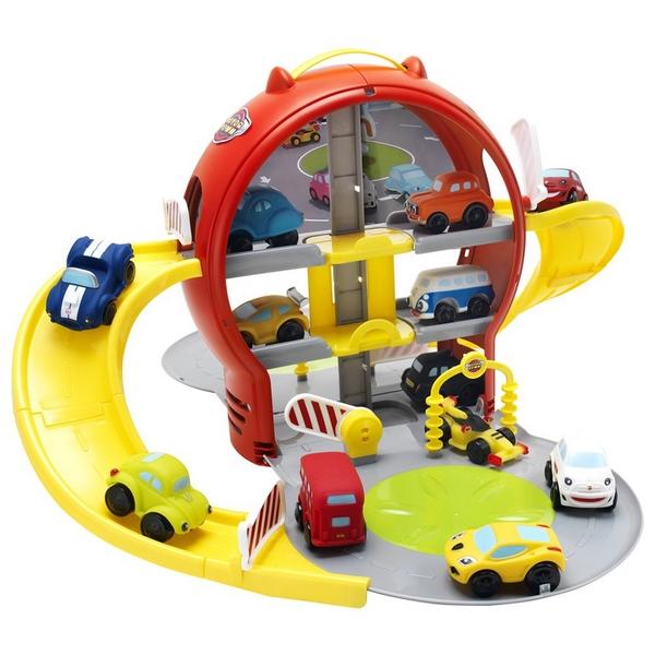 Parkovací garáž patrová, barevná s autem