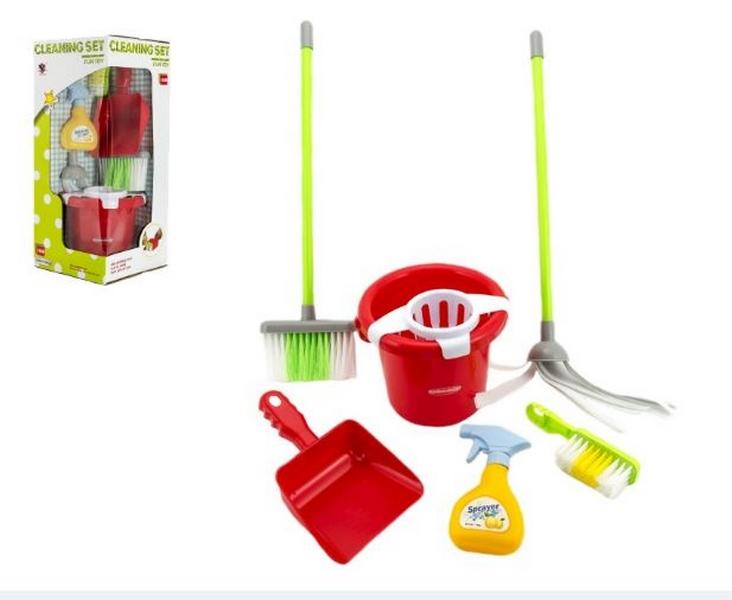 Sada uklízečka kbelík+smeták+lopatka+mop plast v krabici 20x48x21cm