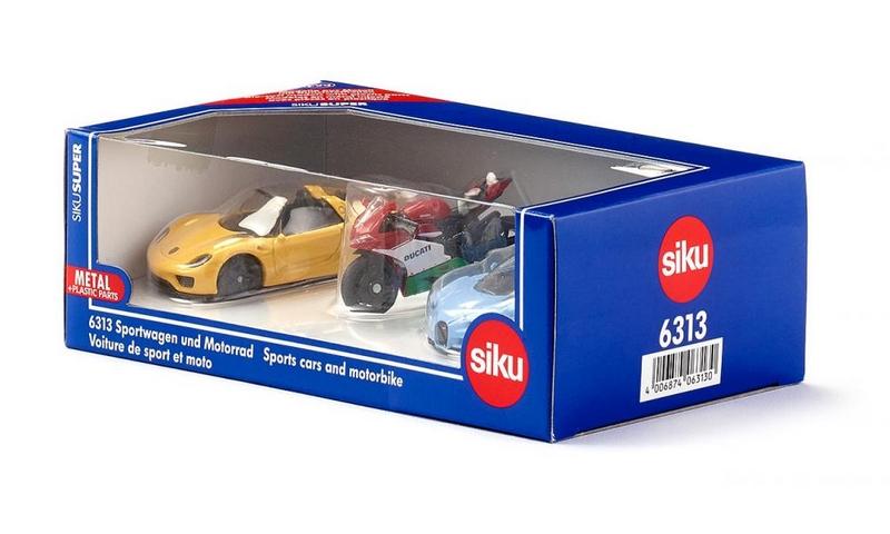 Siku super - set 2 sportovní aut a motorka