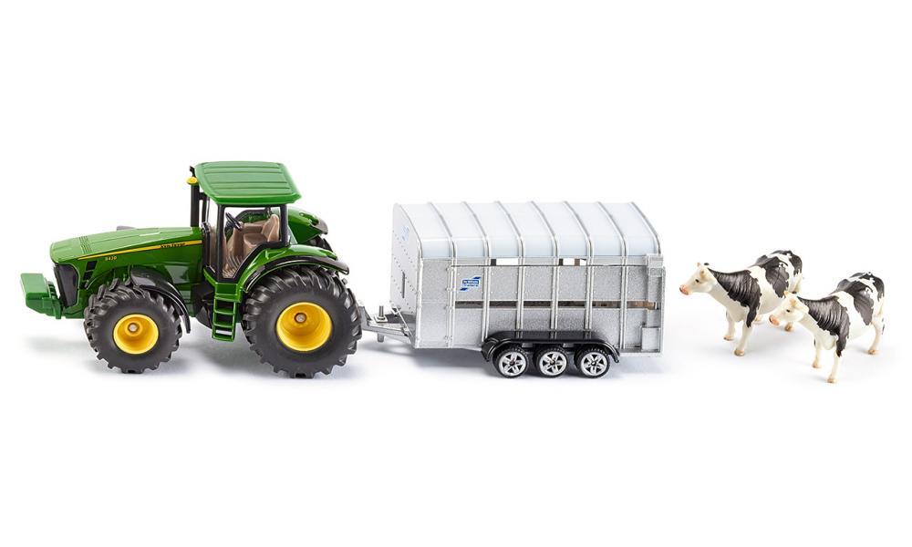 Siku super - traktor john deere s přívěsem pro přepravu dobytka vč…