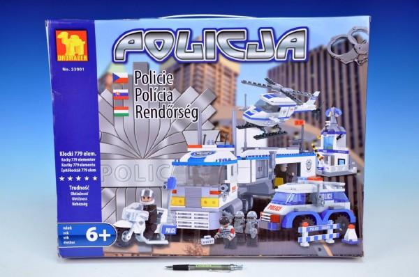 Stavebnice dromader policie auto+vrtulník+stanice 23001, 779 dílků