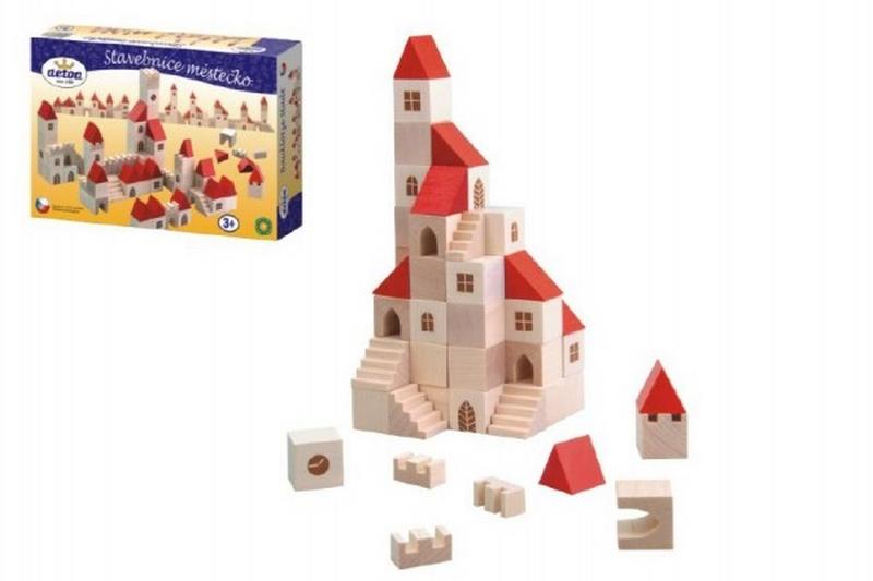 Stavebnice kostky 2,5cm dřevo městečko 100 dílků v krabici…