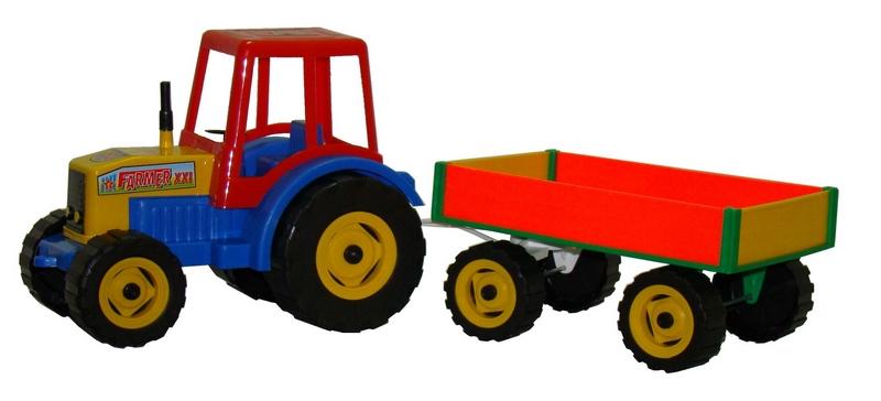 Teddies traktor farmer xxl s vlekem plast 69cm