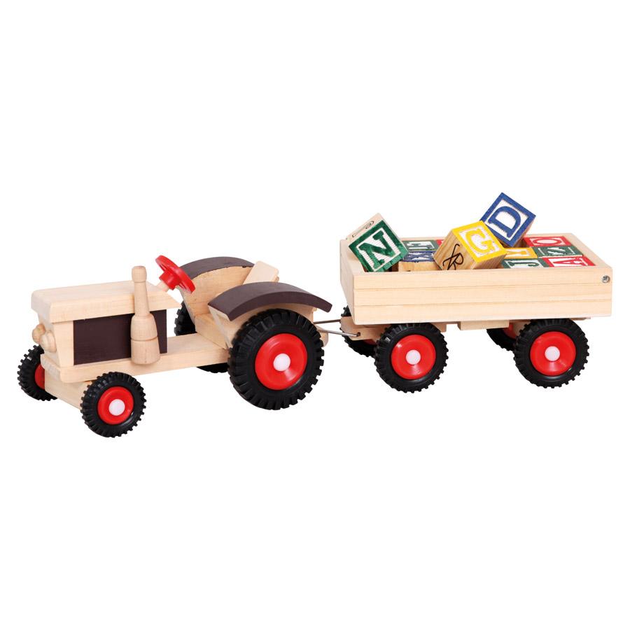 Traktor s gumovými koly a vlečkou abc bino