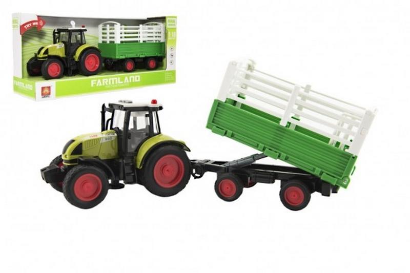 Traktor s vlekem plast 38cm na baterie se světlem a zvukem…