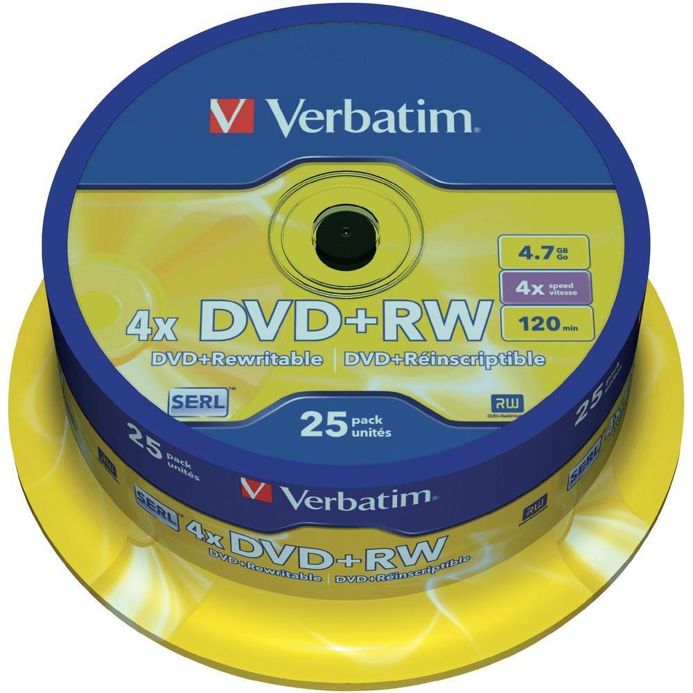 Verbatim dvd+rw 4,7gb 4x 25 ks cake box