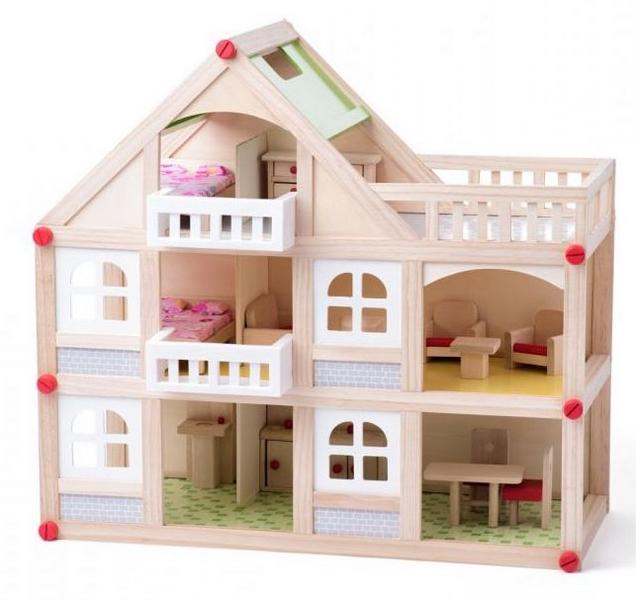 Woody domeček dvoupatrový s balkonem a příslušentsvím