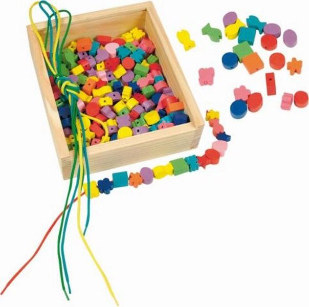 Woody dřevěná krabička navlékací perle (200 perel)