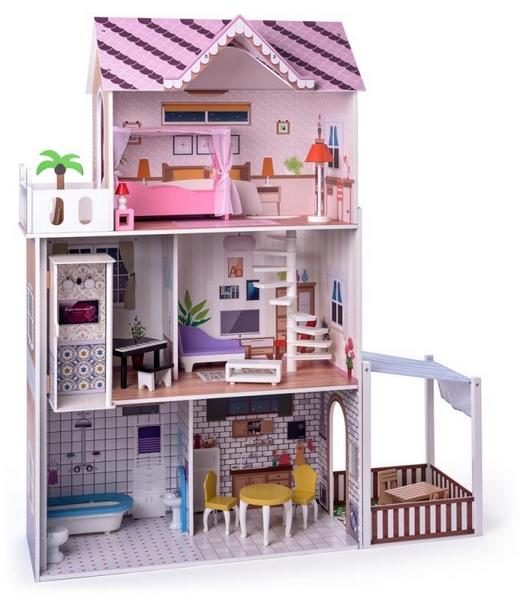 Woody růžový domeček s výtahem malibu