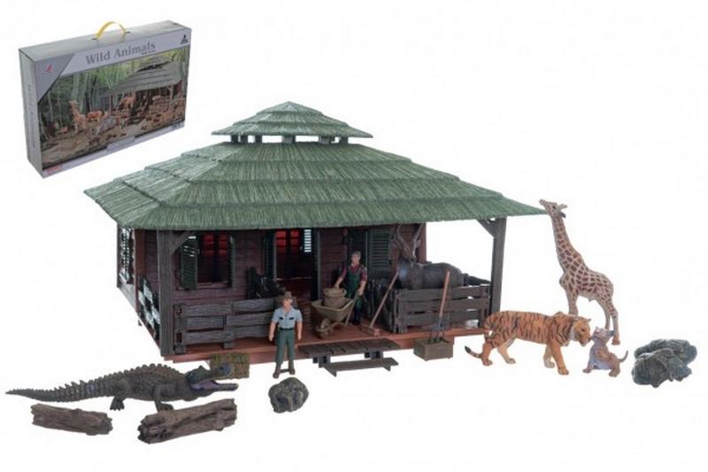 Zvířátka sada velká zoo s doplňky plast v krabici 60x41x13,5cm